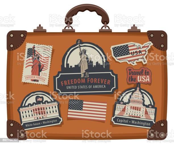Suitcase with american symbols and monuments vector id892766392?b=1&k=6&m=892766392&s=612x612&h=sr0pafpkez5kqosj5qdmpeq6ctgvybqwzxywricqq1u=