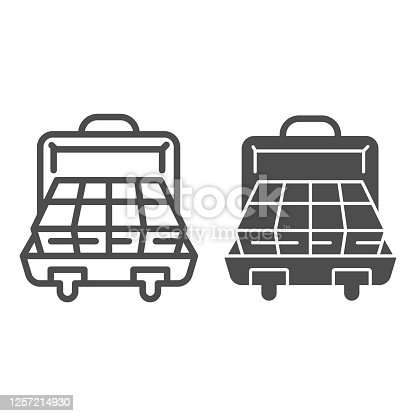 istock Suitcase with money line and solid icon, finance concept, business briefcase full of money sign on white background, open suitcase with cash icon in outline style for mobile and web. Vector graphics. 1257214930