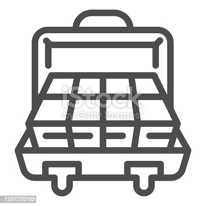 istock Suitcase with money line icon, finance concept, business briefcase full of money sign on white background, open suitcase with cash icon in outline style for mobile and web. Vector graphics. 1257220153