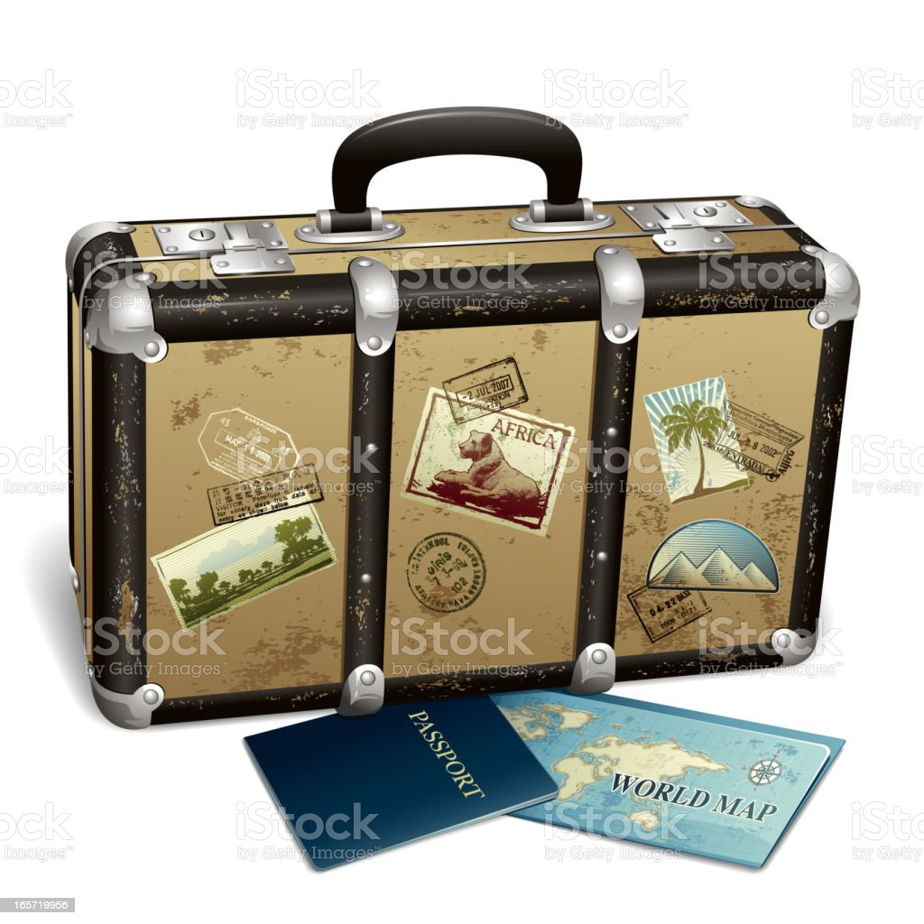 Suitcase with stamps and postcards next to passport and map vector art illustration