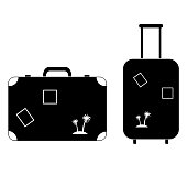 Suitcase with stamps for travel icon on white background
