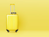 Suitcase with sunglasses on pastel yellow background. Summer holidays, vacation and travel minimal concept. Copy space. Vector.