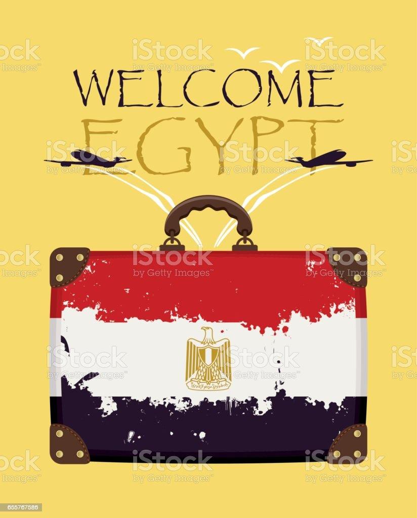 cc8eb0aec maleta con la bandera de Egipto y planos ilustración de maleta con la  bandera de egipto