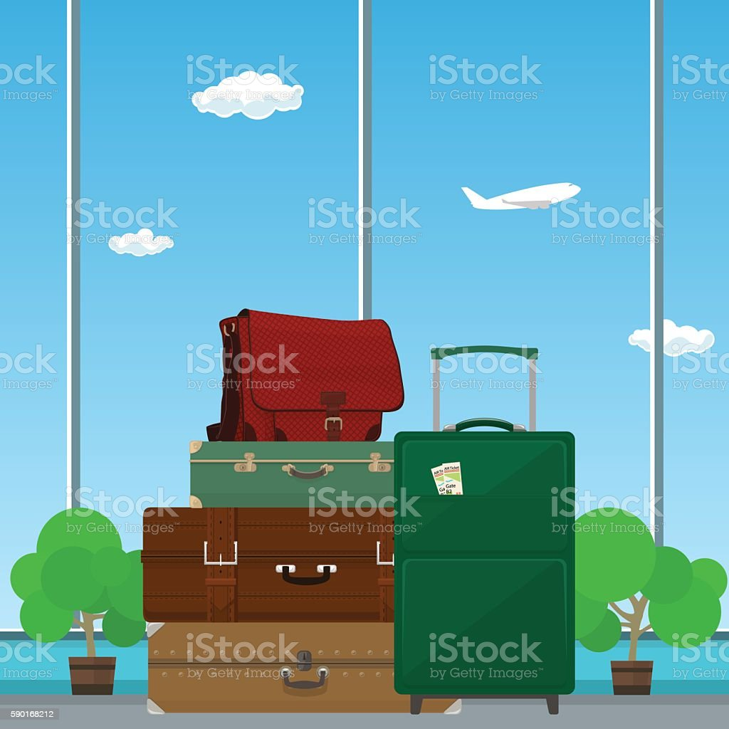 Suitcases and Bag against the Window vector art illustration