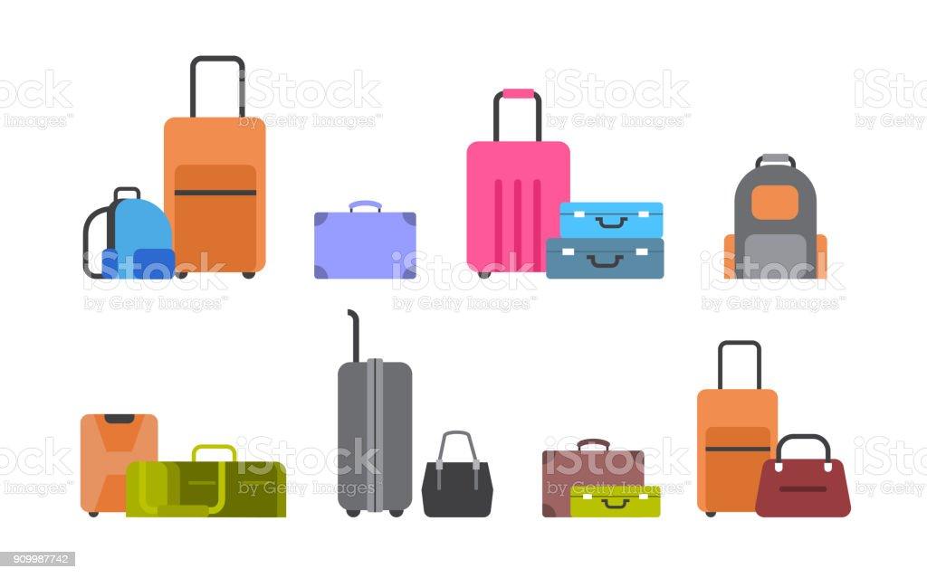 En Set Koffers Tassen Rugzakken Pictogrammen Geïsoleerde Van c3j4qRS5AL