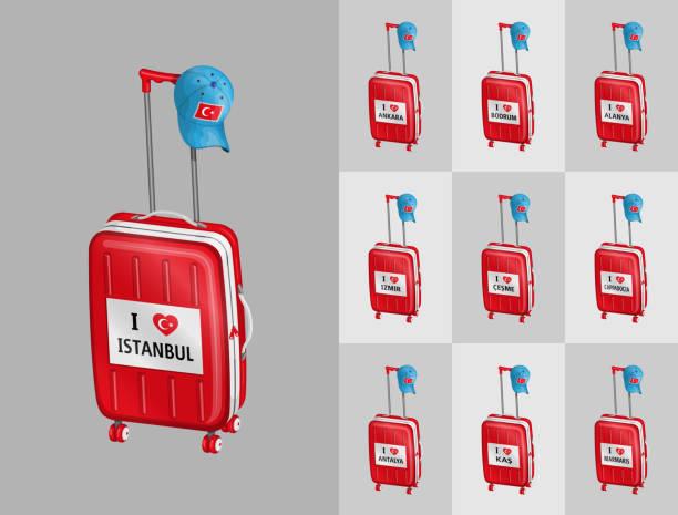 koffer für die reise nach türkei touristischen städte mit türkischen kappe - alanya stock-grafiken, -clipart, -cartoons und -symbole
