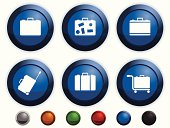 Six blue glossy icons with different suitcases on it.