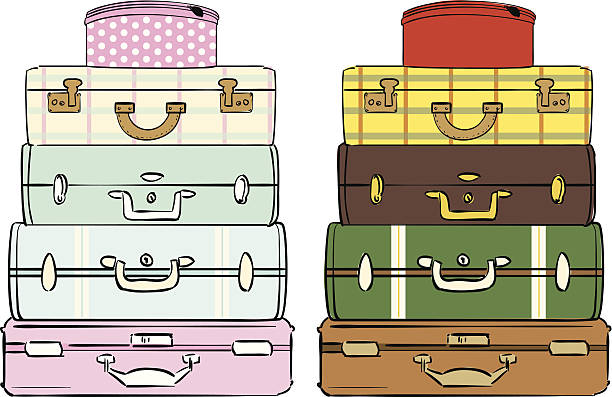 suitcases - heather mcgrath stock illustrations