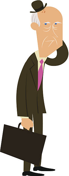 suited old fashioned elder - old man standing drawings stock illustrations, clip art, cartoons, & icons