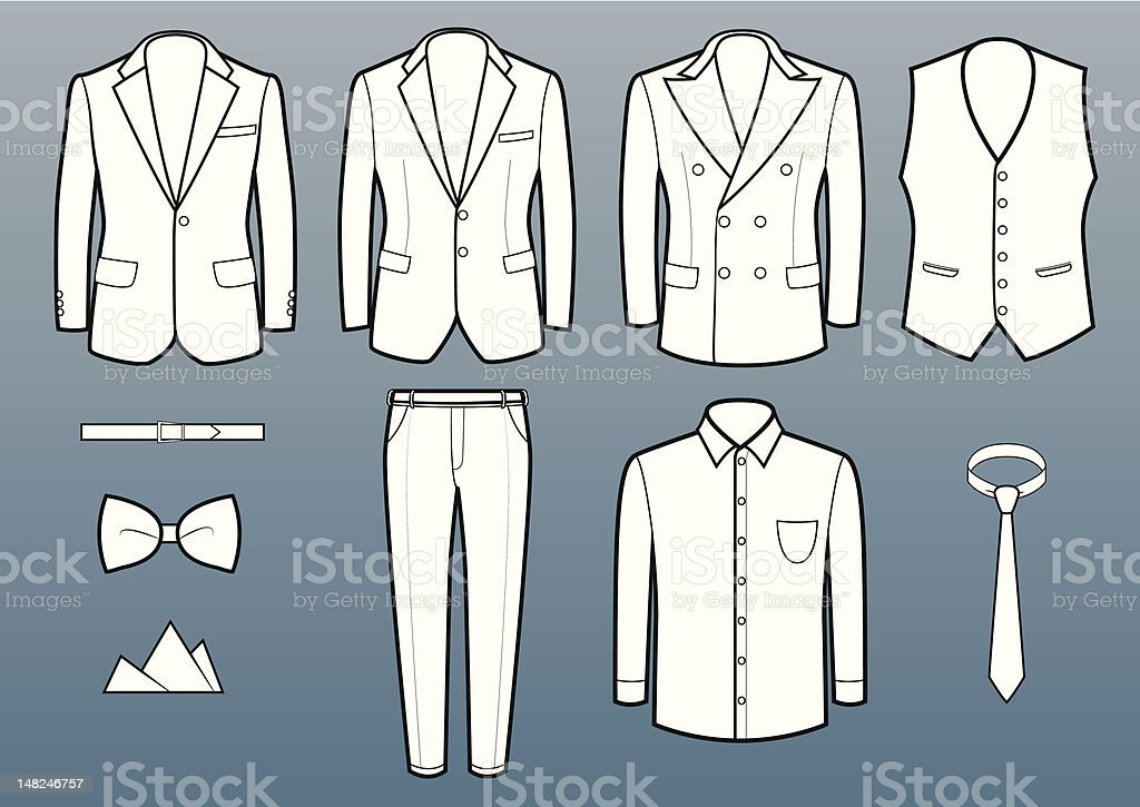 Suits and accessories vector art illustration