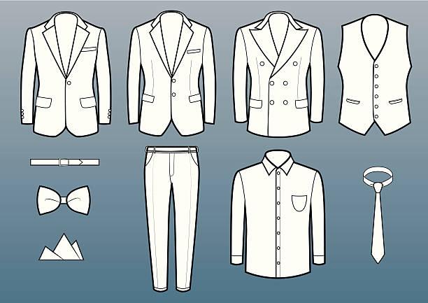 stockillustraties, clipart, cartoons en iconen met suits and accessories - men blazer