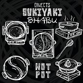 sukiyaki shabu Japanese food objects graphic drawing