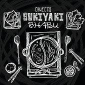 sukiyaki shabu objects graphic drawing