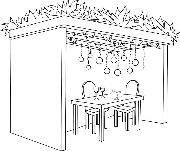 Sukkah For Sukkot With Table Coloring Page vector art illustration