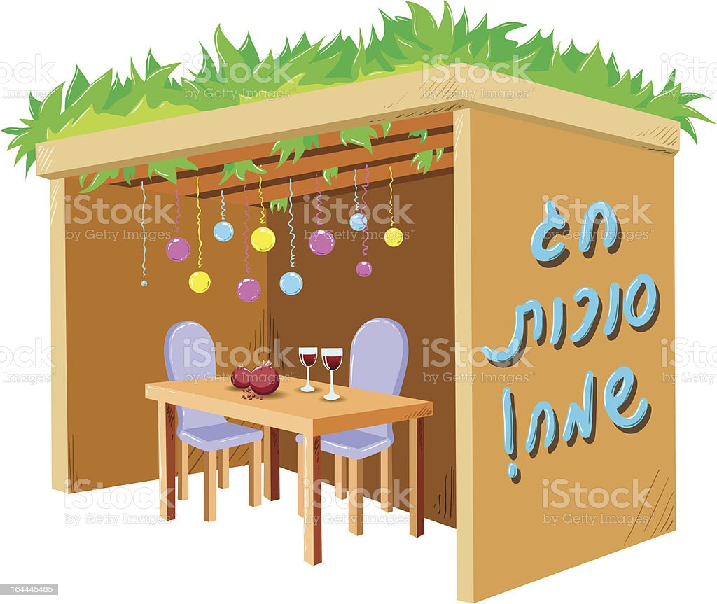 Sukkah For Sukkot With Table vector art illustration