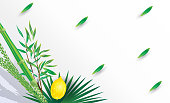 Sukkot greeting card lulav and etrog palm tree leaves - Sukkah decoration Israel Festival Vector