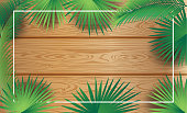 Sukkot palm tree leaves Tropical frame, wood - Sukkah decoration Israel Festival Frame Vector