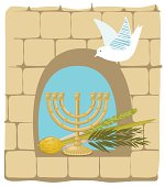 istock Sukkoth Plants and Golden Menorah On Old Stone Wall Background 482319333