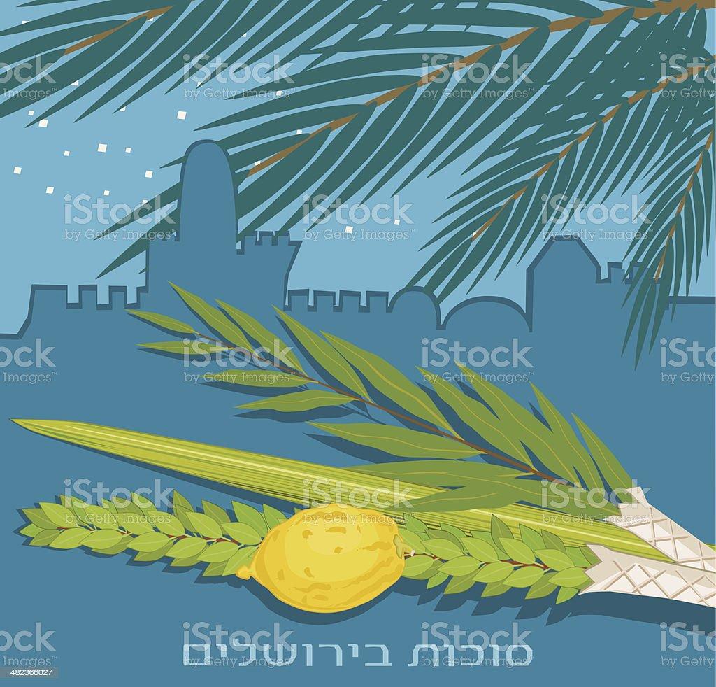 Sukkoth Plants  On Old Jerusalem Background vector art illustration