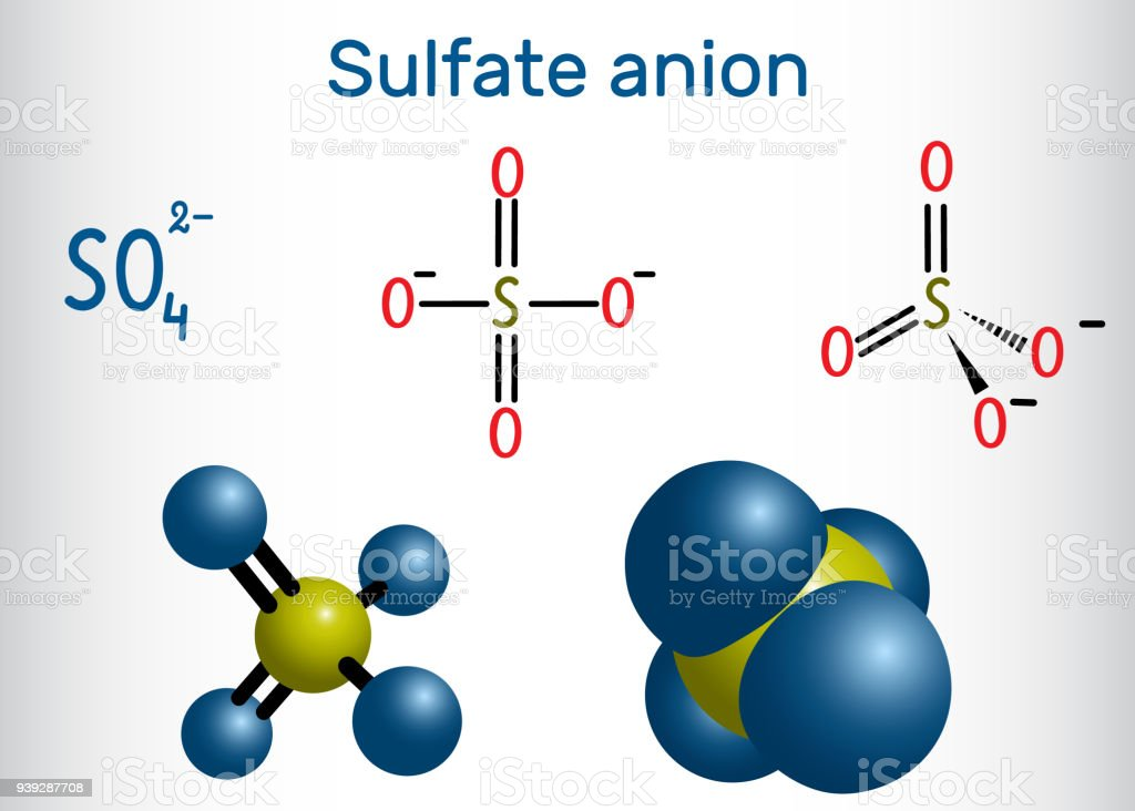 Sulfate Anion Molecule Structural Chemical Formula And Molecule