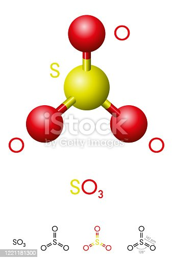 Sulfur trioxide, SO3, molecule model and chemical formula. Significant pollutant and primary agent in acid rain. Ball-and-stick model, geometric structure and structural formula. Illustration. Vector.