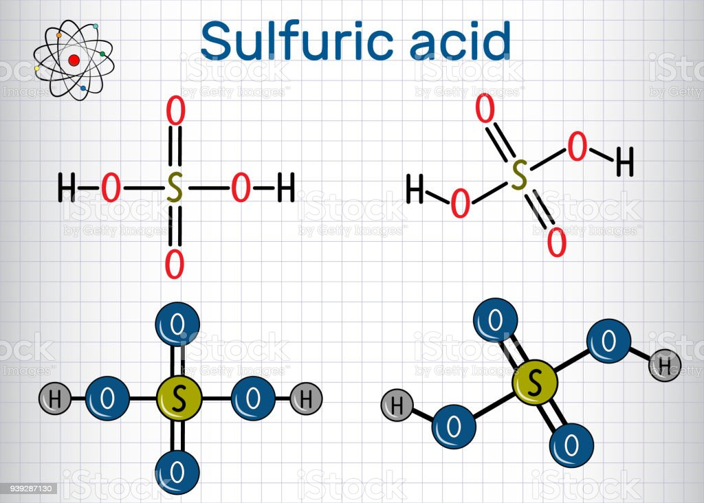 Sulfuric Acid Molecule It Is Strong Mineral Acid Structural Chemical