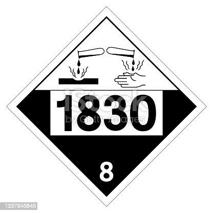 istock Sulfuric Acid UN1830 Symbol Sign, Vector Illustration, Isolate On White Background Label. EPS10 1337645845