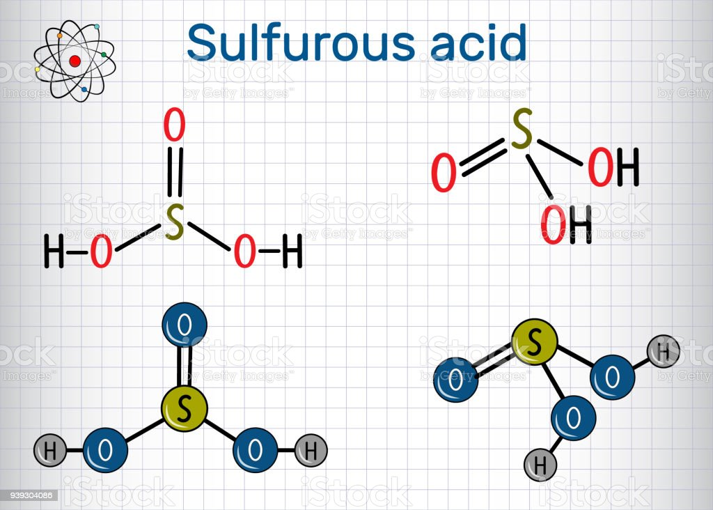 Sulfurous acid (sulphurous acid, H2SO3) molecule. Structural chemical formula and molecule model. Sheet of paper in a cage. vector art illustration