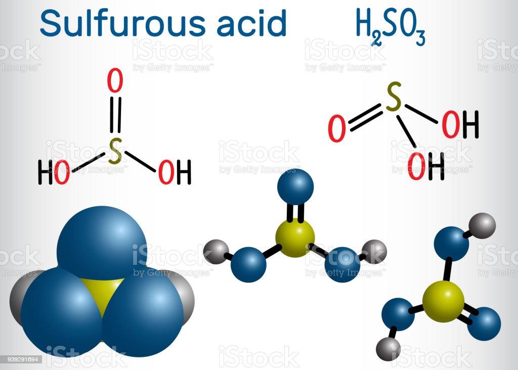 Sulfurous acid (sulphurous acid, H2SO3) molecule. Structural chemical formula and molecule model vector art illustration