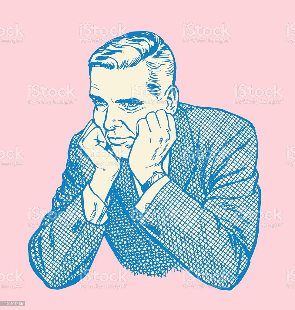 Sullen Man vector art illustration
