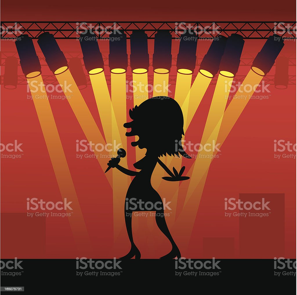 Sultry Singer Silhouette royalty-free stock vector art