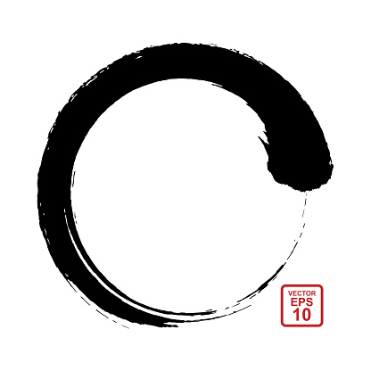 Sumi-e circle. Circular brush movement in the Eastern style of painting and calligraphy.
