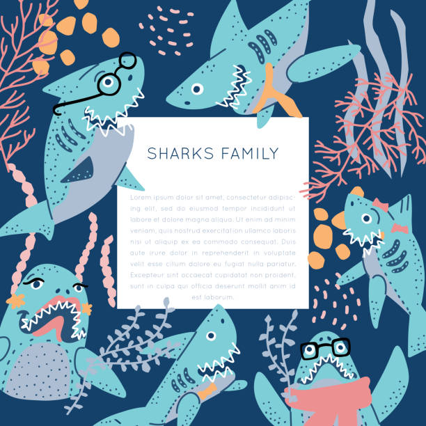 Sumilars_25 different shapes Smiling Sharks Family vector drawings set. T-Shirts, Hoodie, Tank. Vector illustration text for clothes, square frame. Isolated rectangle concept. lyric stock illustrations