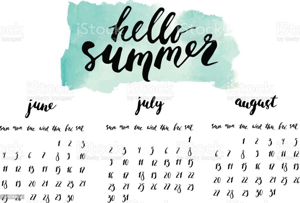 夏 2017 インク書道カレンダーです。 ベクターアートイラスト