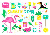 Summer 2018 Colorful Vector Collection Set on white background
