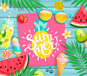 Summer 2019 pink card or banner with pineapple and handdrawn lettering on blue wooden background with watermelon, detox, ice, ice cream,sunglasses and candy, blueberry. Vector Illustration.