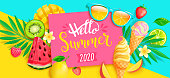Summer 2020 bright greeting banner. Sweet symbols of hot season - ice cream, watermelon, mango and kiwi, strawberry and tropical leaves on two colors geometric background.Vector Illustration.