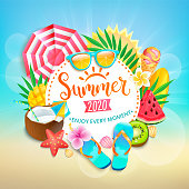 Summer 2020 greeting banner. Bright symbols of hot season - ice cream cocktail, watermelon, mango and kiwi, tropical leaves. Promo template for your design, web, advertise.Vector Illustration.