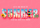 Summer 3D Realistic Stylish Modern Design Banner in Pink Patterned Background with Clipped Tropical Elements like Palm Trees