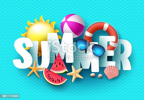 istock Summer 3d text vector banner design with white title and colorful tropical beach elements 931111044