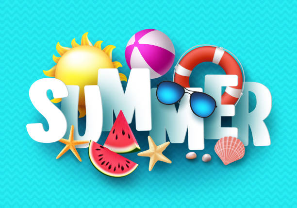 summer 3d text vector banner design with white title and colorful tropical beach elements - summer background stock illustrations