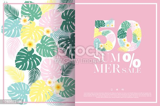 istock Summer 50% sale vector banner template with colorful exotic tropical flowers, monstera and palm leaves. Design for advertising, promotion, flyer, invitation,card, poster, website 1283523186