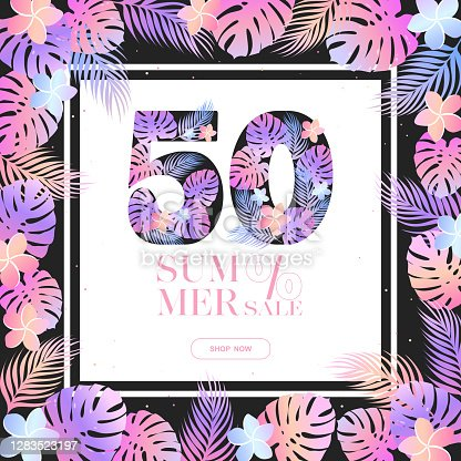 istock Summer 50% sale vector banner template with frame from colorful exotic leaves and flowers on black background. Design for advertising, promotion, flyer, invitation,card, poster, website 1283523197