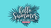 Summer sale background layout banners decorate with paper art tropical leaf.voucher discount.Vector illustration template.