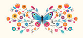 Summer abstract background, banner design template with butterfly and flowers