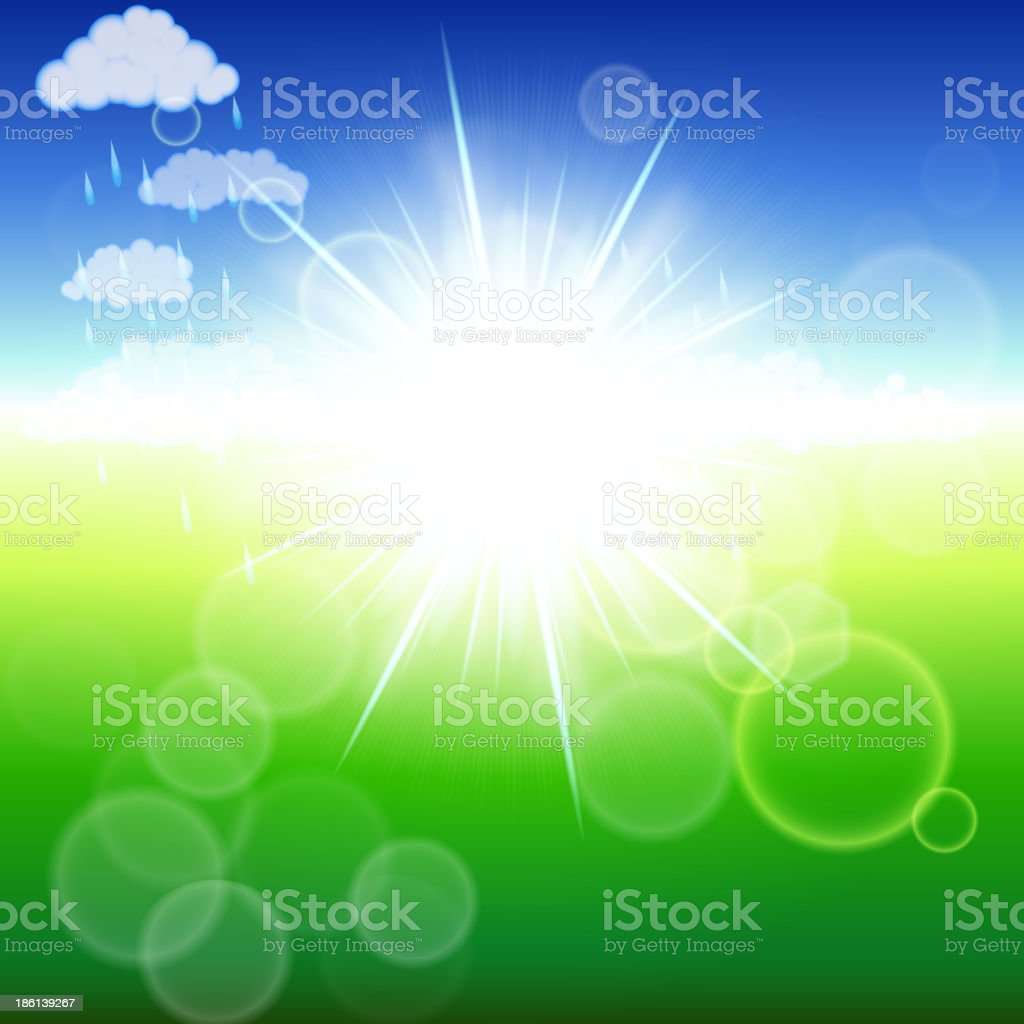 Summer abstract background with sunbeams. Vector illustration. royalty-free stock vector art