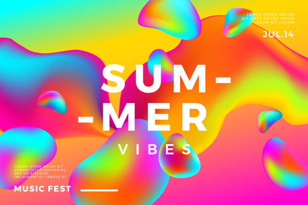 Summer abstract gradient background. Fluid colorful shapes composition. Summer abstract gradient background. Fluid colorful shapes composition. Music fest banner. electronic music stock illustrations