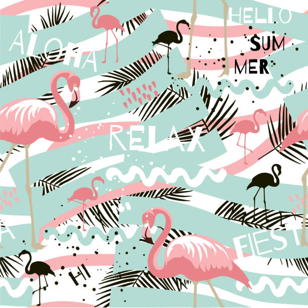 Summer abstract seamless pattern with flamingo - illustrazione arte vettoriale