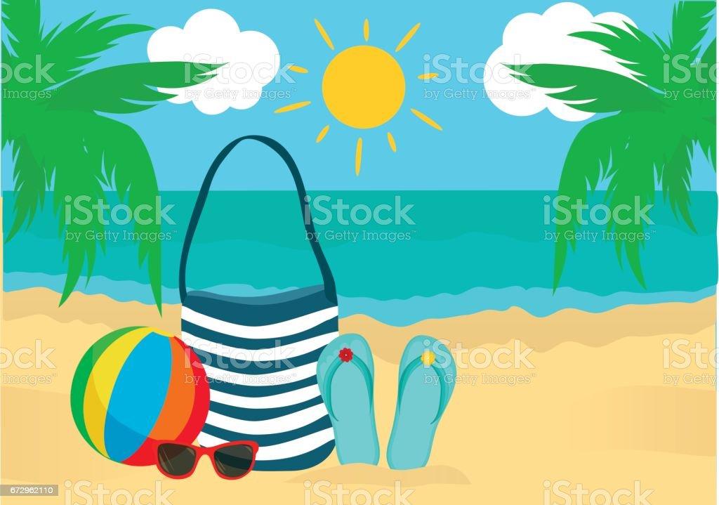 6f71566a6a5d4 Plaj yaz aksesuarları. Çanta, güneş gözlüğü, flip flop, top. Denizin güneşin