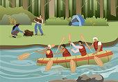 Summer Active Tourism Flat Vector Illustration